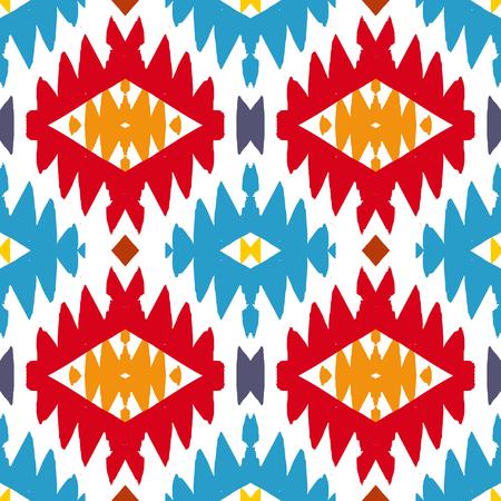 cultura maya: Vector sin patr�n �tnico con motivos indios americanos en m�ltiples colores. Fondo azteca colorido. Impresi�n textil con el ornamento tribal navajo. Arte del nativo americano.