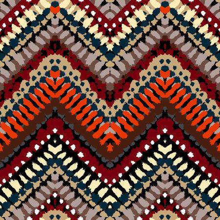 tribales: Pintado a mano vector sin fisuras patrón de rayas con motivos étnicos y tribales, líneas en zigzag, pinceladas y salpicaduras de pintura en varios colores brillantes para la moda de otoño verano Vectores