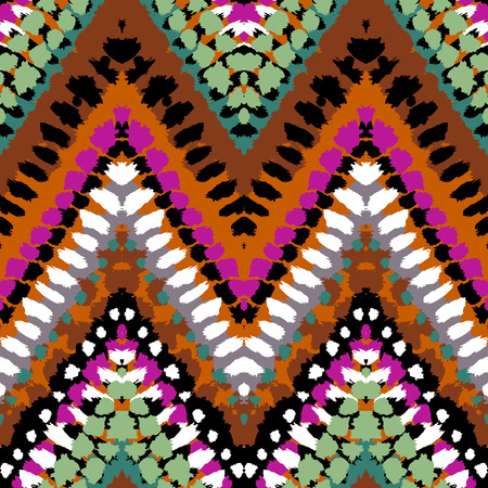 swooshes: Striped hand painted vector seamless pattern with ethnic and tribal motifs, zigzag lines, brushstrokes and splatters of paint in multiple bright colors for summer fall fashion