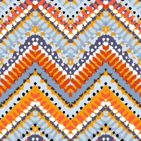 painted lines: Striped hand painted vector seamless pattern with ethnic and tribal motifs, zigzag lines, brushstrokes and splatters of paint in multiple bright colors for summer fall fashion