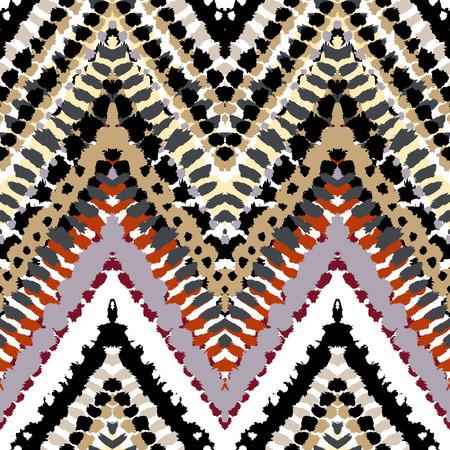 pinceladas: Pintado a mano vector sin fisuras patr�n de rayas con motivos �tnicos y tribales, l�neas en zigzag, pinceladas y salpicaduras de pintura en varios colores brillantes para la moda de oto�o verano Vectores