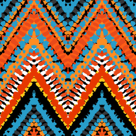 Striped hand painted vector seamless pattern with ethnic and tribal motifs, zigzag lines, brushstrokes and splatters of paint in multiple bright colors for summer fall fashion Vector