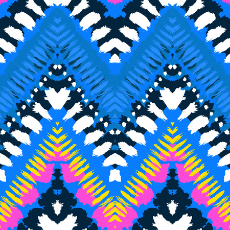 prints mark: Striped hand painted vector seamless pattern with ethnic and tribal motifs, zigzag lines, brushstrokes and splatters of paint in multiple bright colors for summer fall fashion