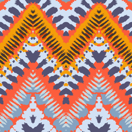 fall fashion: Striped hand painted vector seamless pattern with ethnic and tribal motifs, zigzag lines, brushstrokes and splatters of paint in multiple bright colors for summer fall fashion