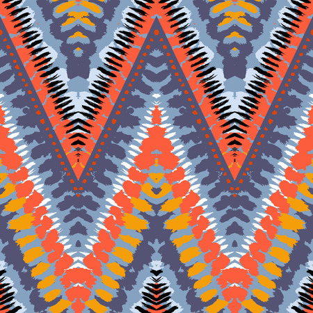 brushstrokes: Striped hand painted vector seamless pattern with ethnic and tribal motifs, zigzag lines, brushstrokes and splatters of paint in multiple bright colors for summer fall fashion