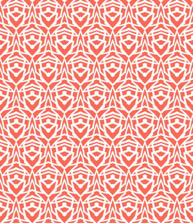 30s: Simple elegant linear vector pattern in 1920s style. Modern art deco background with lines and geometric ornament in bright coral red color