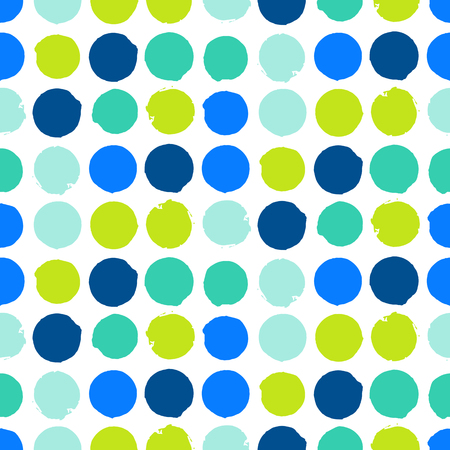 bight: Bold geometric pattern with randomly colored circles in bight blue green colors. Vector seamless texture in vintage 1960s fashion style. Modern hipster background with dots. Illustration