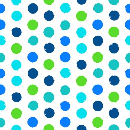 polka dot pattern: Vector seamless hand drawn polka dot pattern. Hand painted texture in vintage 1960s fashion style. Modern hipster background with bright circles.