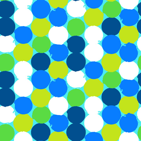 Bold geometric pattern with randomly colored circles in bight blue green colors. Vector hand painted seamless texture in vintage 1960s fashion style. Modern hipster background with dots. Vector