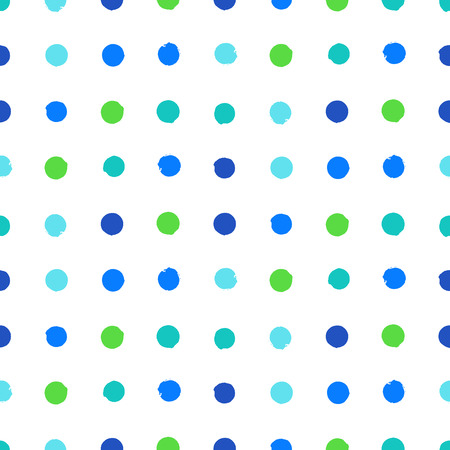 Simple geometric pattern with randomly colored small circles in bight blue green colors. Vector seamless texture in vintage 1960s fashion style. Modern hipster background with dots. Vector
