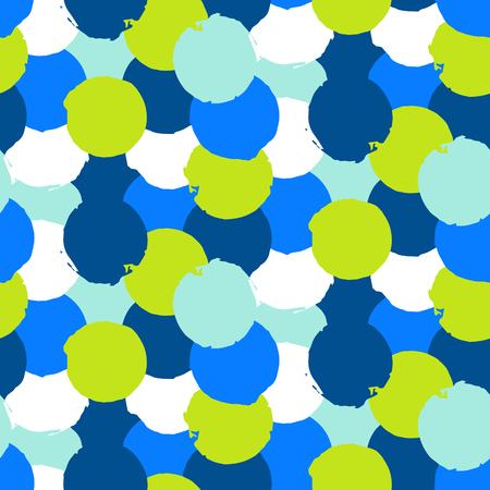 bight: Bold geometric pattern with randomly colored circles in bight blue green colors. Vector hand painted seamless texture in vintage 1960s fashion style. Modern hipster background with colorful dots. Illustration