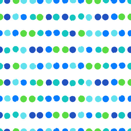 bight: Simple striped geometric pattern with randomly colored small circles in bight blue green colors. Vector seamless texture in vintage 1960s fashion style. Modern hipster background with dots.
