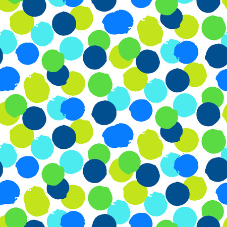 Ditsy vector polka dot pattern with random hand painted circles in bright blue green colors. Seamless texture  in vintage 1960s fashion style. Modern hipster background with round shapes 일러스트