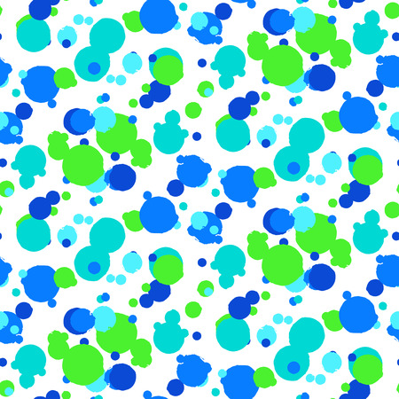 speckle: Ditsy vector polka dot pattern with random hand painted circles in bright blue green color. Seamless texture in vintage 1960s fashion style. Modern hipster background with round shapes or random sizes