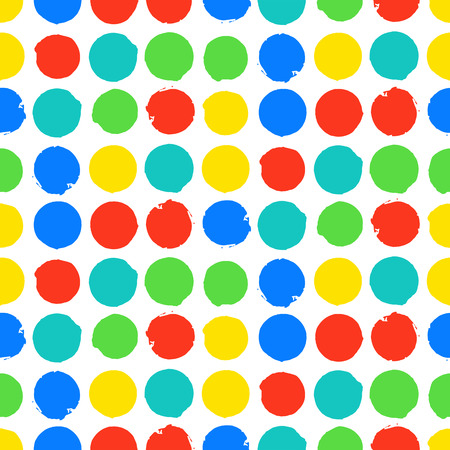 bight: Bold geometric pattern with randomly colored circles in bight red yellow blue green colors. Vector seamless texture in vintage 1960s fashion style. Modern hipster background with dots.