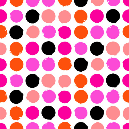 Bold geometric pattern with randomly colored circles in pink orange black colors. Vector seamless texture in vintage 1960s fashion style. Modern hipster background with dots. Illustration