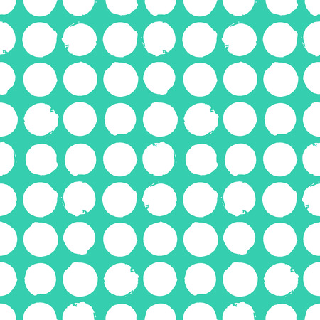 Bold geometric pattern with circles in aqua blue and white colors. Vector seamless texture in vintage 1960s fashion style. Modern hipster background with dots.