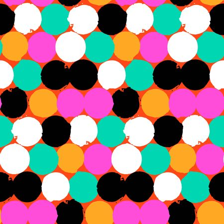 bight: Bold geometric pattern with randomly colored circles in bight yellow, pink, black, white color. Vector hand painted seamless texture in vintage 1960s fashion style. Modern hipster background with dots