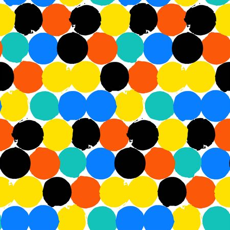 bight: Bold geometric pattern with randomly colored circles in bight yellow, red, black, blue color. Vector hand painted seamless texture in vintage 1960s fashion style. Modern hipster background with dots