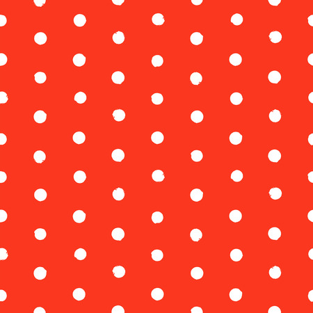 speckle: Vector seamless hand drawn polka dot pattern. Painted texture in vintage 1960s fashion style and classic colors - white and red. Modern hipster background with small circles.
