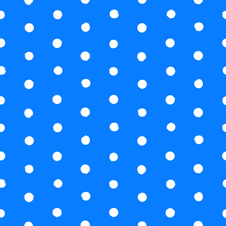 speckle: Vector seamless hand drawn polka dot pattern. Painted texture in vintage 1960s fashion style and classic colors - white and blue. Modern hipster background with small circles. Illustration