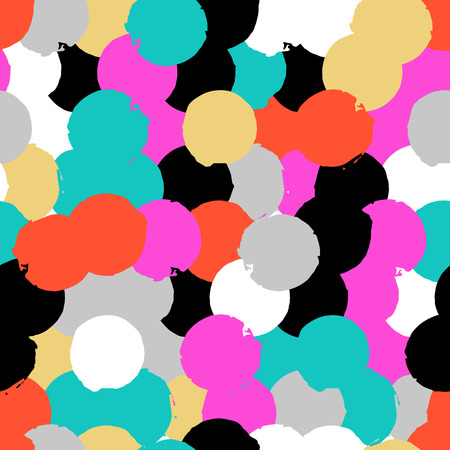 Bold geometric pattern with randomly colored circles in red black pink grey colors. Vector hand painted seamless texture in vintage 1960 fashion style. Modern hipster background with colorful dots