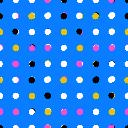 Simple geometric pattern with randomly colored small circles in blue gold pink black white colors. Vector seamless texture in vintage 1960s fashion style. Modern hipster background with colorful dots. Vector