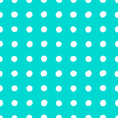 Small geometric pattern with circles in aqua blue and white colors. Vector seamless texture in vintage 1960s fashion style. Modern hipster background with dots. Vector