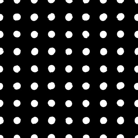 Simple geometric pattern with small circles in classic black white colors. Vector seamless texture in vintage 1960s fashion style. Modern hipster background with polka dots. Vector