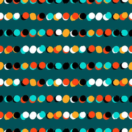 Simple striped geometric pattern with randomly colored small circles in bight blue green colors. Vector seamless texture in vintage 1960s fashion style. Modern hipster background with dots. Vector