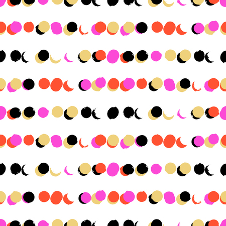 Simple striped geometric pattern with randomly colored small circles in bight pink, gold, coral red colors. Vector seamless texture in vintage 1960s fashion style. Modern hipster background with dots. Иллюстрация