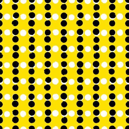 amarillo y negro: Patrón geométrico Pequeño con círculos pintados en colores negro, amarillo y blanco. Textura inconsútil del vector en 1960 estilo de la moda vintage. Fondo inconformista moderna con puntos.