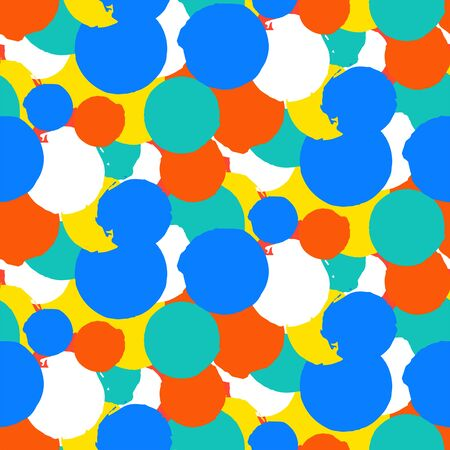 dot pattern: Bold vector polka dot pattern with random hand drawn circles in red, blue, green, yellow colors. Seamless texture in vintage 1960s fashion style. Modern hipster background with round painted shapes