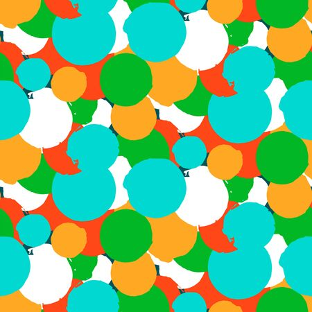 Bold vector polka dot pattern with random hand drawn circles in bright blue green red colors. Seamless texture in vintage 1960s fashion style. Modern hipster background with round painted shapes Vector