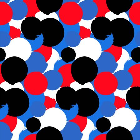 dot pattern: Bold vector polka dot pattern with random hand drawn circles in red, blue, white, black colors. Seamless texture in vintage 1960s fashion style. Modern hipster background with round painted shapes