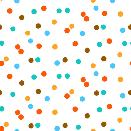 dot pattern: Ditsy vector polka dot pattern with scattered hand drawn small circles in bright classic colors. Seamless texture in vintage 1960s fashion style. Modern hipster background with painted round shapes