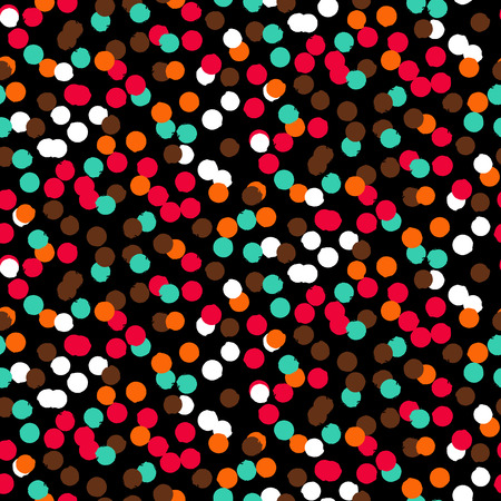 Ditsy vector polka dot pattern with scattered hand drawn small circles in bright multiple colors. Seamless texture in vintage 1950s fashion style. Modern hipster background with painted round shapes