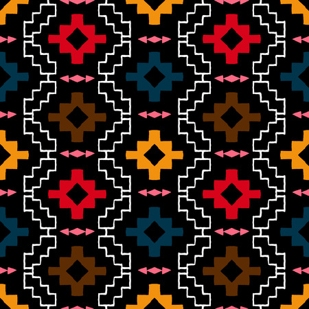 tribal pattern: Vector seamless ethnic pattern with american indian motifs in multiple colors. Colorful aztec background. Textile print with navajo tribal ornament. Native american art. Illustration