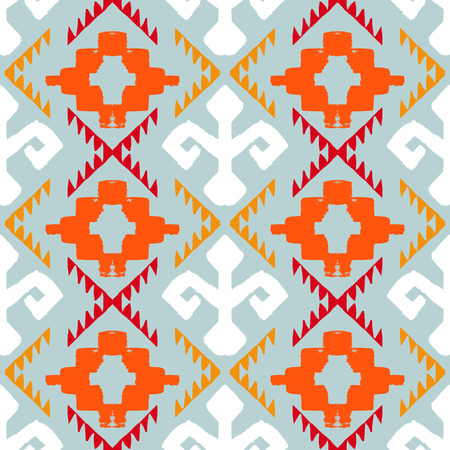 zig: Vector seamless ethnic pattern with american indian motifs in multiple colors. Colorful aztec background. Textile print with navajo tribal ornament. Native american art. Illustration
