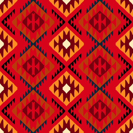 Vector seamless ethnic pattern with american indian motifs in multiple colors. Colorful aztec background. Textile print with navajo tribal ornament. Native american art. 向量圖像
