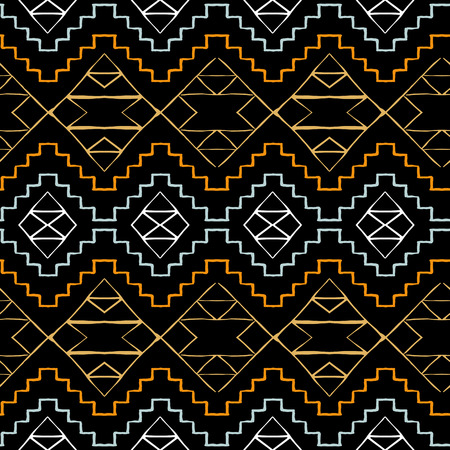 Vector seamless ethnic pattern with american indian motifs in multiple colors. Colorful aztec background. Textile print with navajo tribal ornament. Native american art. Çizim