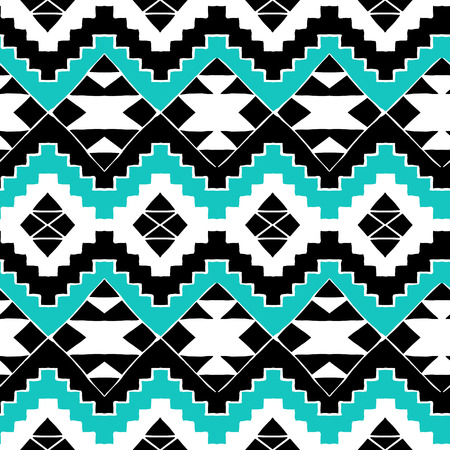 Vector seamless ethnic pattern with american indian motifs in multiple colors. Colorful aztec background. Textile print with navajo tribal ornament. Native american art. Иллюстрация