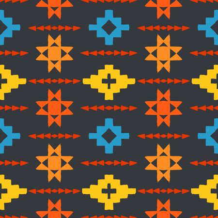 hand print: Vector seamless ethnic pattern with american indian motifs in multiple colors. Colorful aztec background. Textile print with navajo tribal ornament. Native american art. Illustration