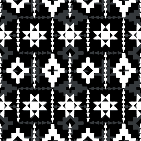 unique: Vector seamless ethnic pattern with american indian motifs in black and white colors. Aztec background. Textile print with navajo tribal ornament. Native american art.