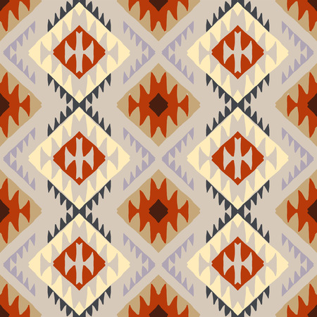 Vector seamless ethnic pattern with american indian motifs in multiple colors. Colorful aztec background. Textile print with navajo tribal ornament. Native american art. Vettoriali