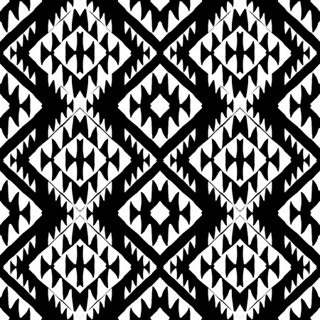 Vector seamless ethnic pattern with american indian motifs in black and white colors. Aztec background. Textile print with navajo tribal ornament. Native american art.