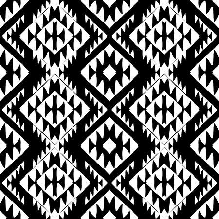 tribales: Vector sin patrón étnico con motivos indios americanos en colores blanco y negro. Fondo azteca. Impresión textil con el ornamento tribal navajo. Arte del nativo americano.