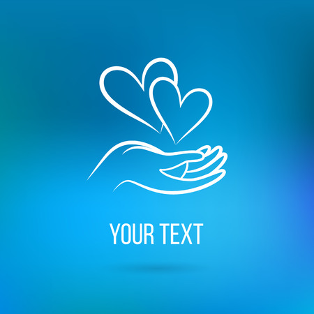 Vector  with hand, two hearts, open palm and text. Design template and concept of love, family, friendship, charity, local community, help, awareness, society, care and sharing Illustration