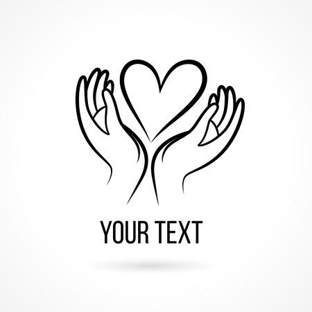 manos abiertas: Vector con la mano, el coraz�n, las palmas abiertas y texto. Plantilla de dise�o y el concepto del amor, la familia, la amistad, el amor y la comunidad local, la ayuda, la conciencia, la sociedad, la atenci�n y compartir