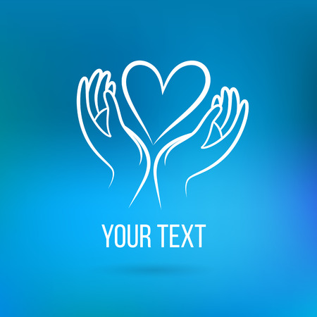 Vector  with hand, heart, open palms and text. Design template and concept of love, family, friendship, charity, local community, help, awareness, society, care and sharing
